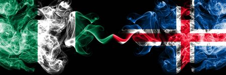 Nigeria vs Iceland, Icelandic abstract smoky mystic flags placed side by side. Thick colored silky smoke flags of Nigerian and Iceland, Icelandic Banco de Imagens