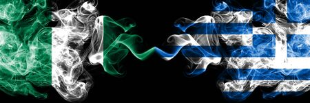Nigeria vs Greece, Greek abstract smoky mystic flags placed side by side. Thick colored silky smoke flags of Nigerian and Greece, Greek Banco de Imagens