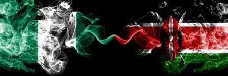 Nigeria vs Kenya, Kenyan abstract smoky mystic flags placed side by side. Thick colored silky smoke flags of Nigerian and Kenya, Kenyan Banco de Imagens