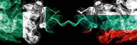 Nigeria vs Bulgaria, Bulgarian abstract smoky mystic flags placed side by side. Thick colored silky smoke flags of Nigerian and Bulgaria, Bulgarian Banco de Imagens