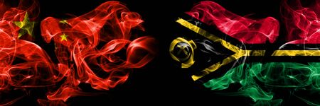 China vs Vanuatu smoke flags placed side by side. Thick colored silky smoke flags of Chinese and Vanuatu