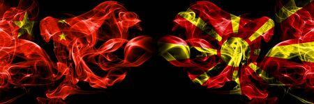 China vs Macedonia, Macedonian smoke flags placed side by side. Thick colored silky smoke flags of Chinese and Macedonia, Macedonian 版權商用圖片