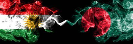 Kurdistan vs Bangladesh, Bangladeshi smoke flags placed side by side. Thick colored silky smoke flags of Kurds and Bangladesh, Bangladeshi Stock Photo