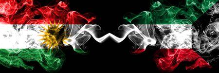 Kurdistan vs Kuwait, Kuwaiti smoke flags placed side by side. Thick colored silky smoke flags of Kurds and Kuwait, Kuwaiti