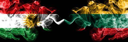 Kurdistan vs Lithuania, Lithuanian smoke flags placed side by side. Thick colored silky smoke flags of Kurds and Lithuania, Lithuanian