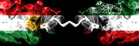 Kurdistan vs Somaliland smoke flags placed side by side. Thick colored silky smoke flags of Kurds and Somaliland 版權商用圖片