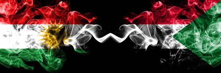 Kurdistan vs Sudan, Sudanese smoke flags placed side by side. Thick colored silky smoke flags of Kurds and Sudan, Sudanese