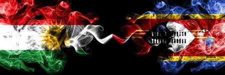 Kurdistan vs Swaziland, Swazi smoke flags placed side by side. Thick colored silky smoke flags of Kurds and Swaziland, Swazi