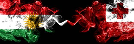 Kurdistan vs Tonga, Tongan smoke flags placed side by side. Thick colored silky smoke flags of Kurds and Tonga, Tongan
