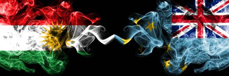 Kurdistan vs Tuvalu, Tuvaluan smoke flags placed side by side. Thick colored silky smoke flags of Kurds and Tuvalu, Tuvaluan 版權商用圖片