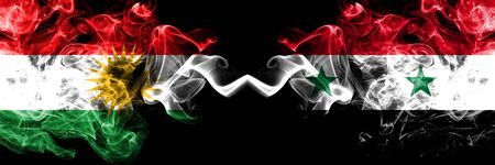 Kurdistan vs Syria, Syrian smoke flags placed side by side. Thick colored silky smoke flags of Kurds and Syria, Syrian