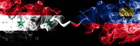 Syria vs Liechtenstein, Liechtensteins smoke flags placed side by side. Thick colored silky smoke flags of Syrian and Liechtenstein, Liechtensteins