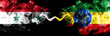 Syria vs Ethiopia, Ethiopian smoke flags placed side by side. Thick colored silky smoke flags of Syrian and Ethiopia, Ethiopian