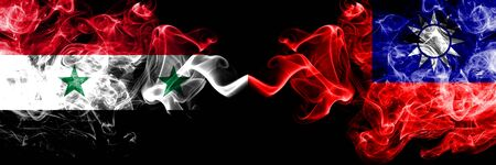 Syria vs Taiwan, Taiwanese smoke flags placed side by side. Thick colored silky smoke flags of Syrian and Taiwan, Taiwanese