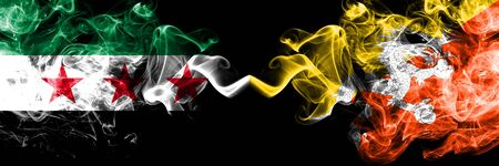Syria vs Bhutan, Bhutanese smoke flags placed side by side. Thick colored silky smoke flags of Syrian and Bhutan, Bhutanese Stock Photo