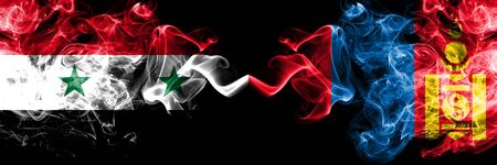 Syria vs Mongolia, Mongolian smoke flags placed side by side. Thick colored silky smoke flags of Syrian and Mongolia, Mongolian Stock Photo
