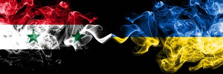 Syria vs Ukraine, Ukrainian smoke flags placed side by side. Thick colored silky smoke flags of Syrian and Ukraine, Ukrainian