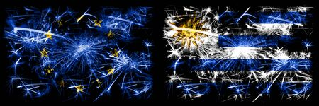 Eu, European union vs Uruguay, Uruguayan new year celebration sparkling fireworks flags concept background. Combination of two states flags.