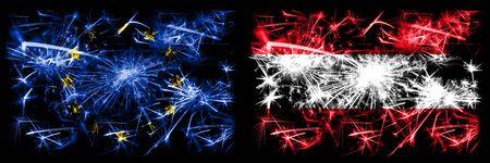 Eu, European union vs Austria, Austrian new year celebration sparkling fireworks flags concept background. Combination of two states flags.