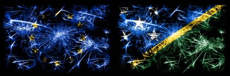 Eu, European union vs Solomon Islands new year celebration sparkling fireworks flags concept background. Combination of two states flags.