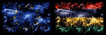 Eu, European union vs Mauritius, Mauritian new year celebration sparkling fireworks flags concept background. Combination of two states flags. Stock Photo