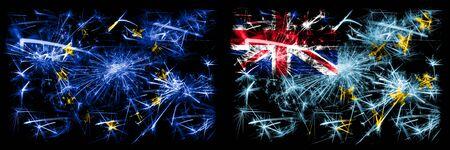 Eu, European union vs Tuvalu, Tuvaluan new year celebration sparkling fireworks flags concept background. Combination of two states flags.