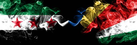 Syrian Arab Republic vs Seychelles, Seychelloise smoke flags placed side by side. Thick colored silky smoke flags of Syria opposition and Seychelles, Seychelloise