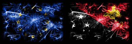 Eu, European union vs Papua New Guinea new year celebration sparkling fireworks flags concept background. Combination of two states flags.