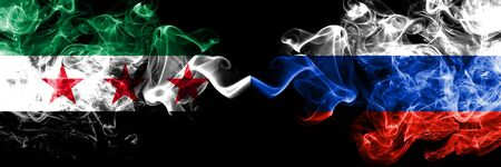 Syrian Arab Republic vs Russia, Russian smoke flags placed side by side. Thick colored silky smoke flags of Syria opposition and Russia, Russian