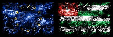 Eu, European union vs Abkhazia, Abkhazian new year celebration sparkling fireworks flags concept background. Combination of two states flags. Stock Photo