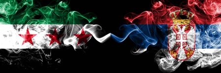 Syrian Arab Republic vs Serbia, Serbian smoke flags placed side by side. Thick colored silky smoke flags of Syria opposition and Serbia, Serbian Stock Photo