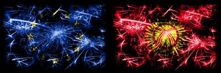Eu, European union vs Kyrgyzstan new year celebration sparkling fireworks flags concept background. Combination of two states flags.