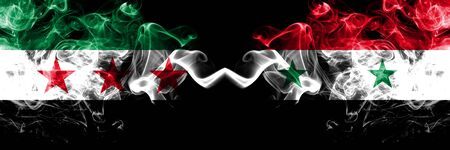 Syrian Arab Republic vs Syria, Syrian smoke flags placed side by side. Thick colored silky smoke flags of Syria opposition and Syria, Syrian