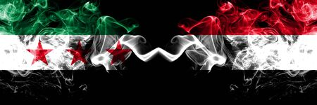 Syrian Arab Republic vs Yemen, Yemeni smoke flags placed side by side. Thick colored silky smoke flags of Syria opposition and Yemen, Yemeni