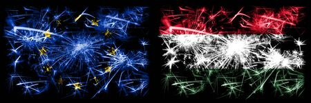 Eu, European union vs Hungary, Hungarian new year celebration sparkling fireworks flags concept background. Combination of two states flags.