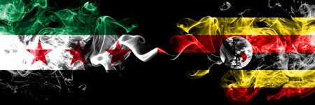 Syrian Arab Republic vs Uganda, Ugandan smoke flags placed side by side. Thick colored silky smoke flags of Syria opposition and Uganda, Ugandan Stock Photo