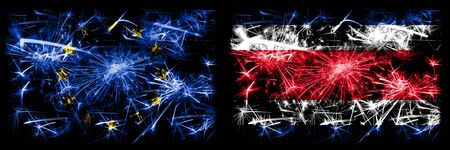 Eu, European union vs Costa Rica new year celebration sparkling fireworks flags concept background. Combination of two states flags.