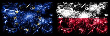 Eu, European union vs Poland, Polish new year celebration sparkling fireworks flags concept background. Combination of two states flags.