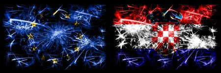 Eu, European union vs Croatia, Croatian new year celebration sparkling fireworks flags concept background. Combination of two states flags. Stock Photo