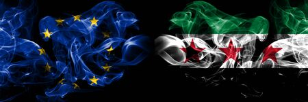 Eu, European union vs Syria, Syrian Arab Republic, three stars, observed smoke flags placed side by side. Thick colored silky smokes abstract flags