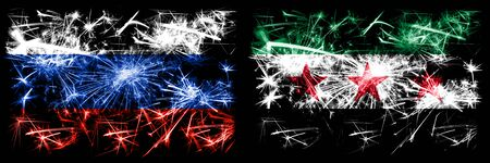Russia, Russian vs Syria, Syrian Arab Republic, three stars, observed New Year celebration sparkling fireworks flags concept background. Combination of two states flags.