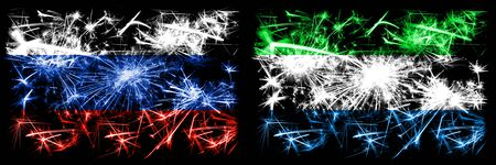 Russia, Russian vs Sierra Leone New Year celebration sparkling fireworks flags concept background. Combination of two states flags. Stock Photo