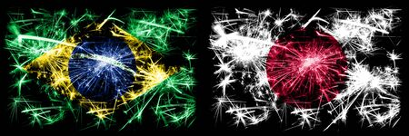 Brazil, Brazilian vs Japan, Japanese New Year celebration sparkling fireworks flags concept background. Combination of two states flags.
