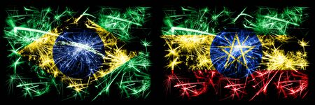 Brazil, Brazilian vs Ethiopia, Ethiopian New Year celebration sparkling fireworks flags concept background. Combination of two states flags. Stock Photo