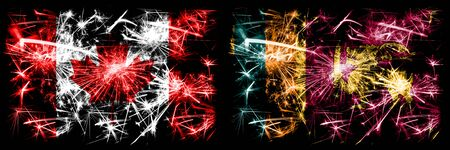 Canada, Canadian vs Sri Lanka, Sri Lankan New Year celebration sparkling fireworks flags concept background. Combination of two abstract states flags. Stock Photo
