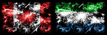 Canada, Canadian vs Sierra Leone New Year celebration sparkling fireworks flags concept background. Combination of two abstract states flags.