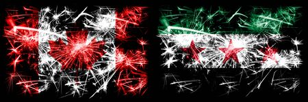 Canada, Canadian vs Syria, Syrian Arab Republic, three stars, observed New Year celebration sparkling fireworks flags concept background. Combination of two abstract states flags. 版權商用圖片