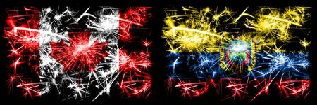 Canada, Canadian vs Ecuador, Ecuadorian New Year celebration sparkling fireworks flags concept background. Combination of two abstract states flags.
