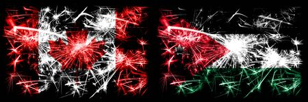 Canada, Canadian vs Jordan, Jordanian New Year celebration sparkling fireworks flags concept background. Combination of two abstract states flags. Stock Photo