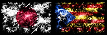 Japan, Japanese vs Catalonia, Spain New Year celebration sparkling fireworks flags concept background. Combination of two abstract states flags.